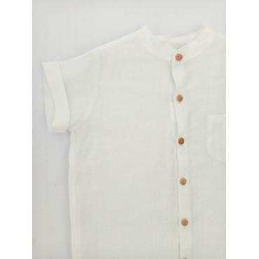 Linen short sleeve shirt white