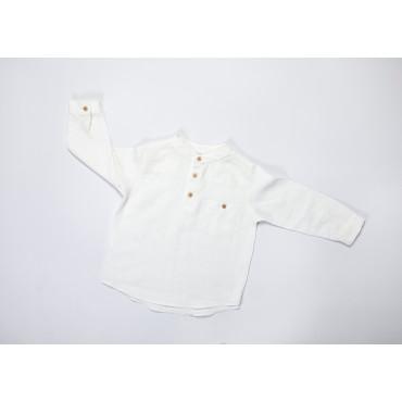 Linen long sleeve shirt white