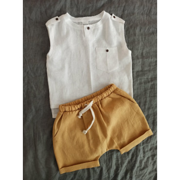Linen top white with buttons