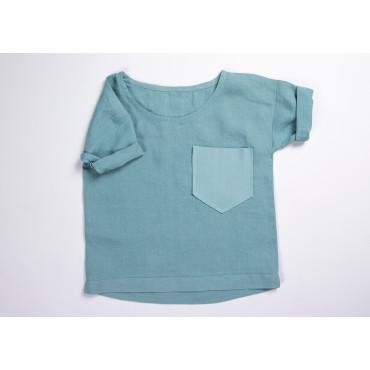 Linen shirt sea blue