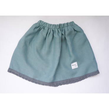 Linen skirt sea blue with lace