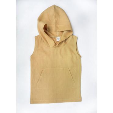 Linen hoodie dress ochre