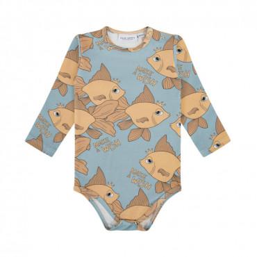 Goldfish Blue Long Sleeve Bodysuit