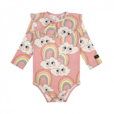 Rainbow Pink bodysuit with frill