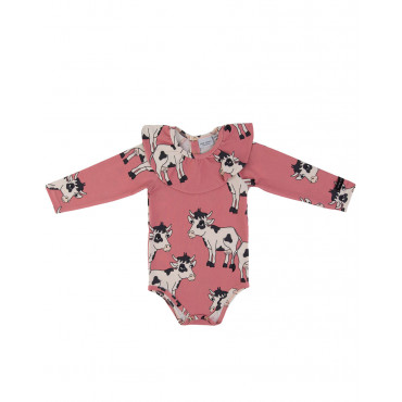 Cow Pink bodysuit with frill