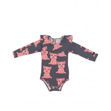 Piggy Dark bodysuit with frill
