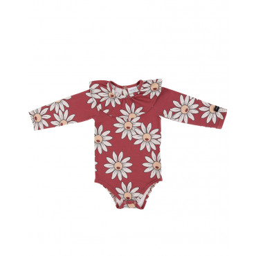 Red Daisy bodysuit with frill
