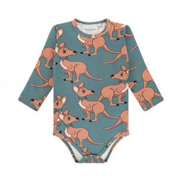 Kangaroo Blue Long Sleeve Bodysuit