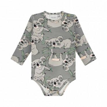 Koala Grey Long Sleeve Bodysuit