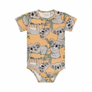 Koala Yellow Short Sleeve Bodysuit