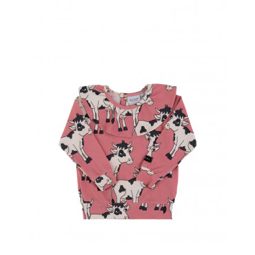 Cow Pink jersey frilled longsleeve