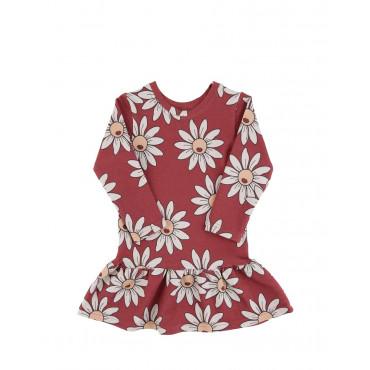 Red Daisy Longsleeve Dress