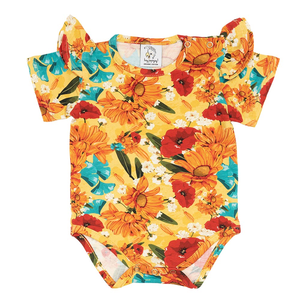 Yellow Meadow Bodysuit with frills short