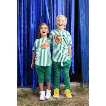T-shirt Green Stripes Papaya