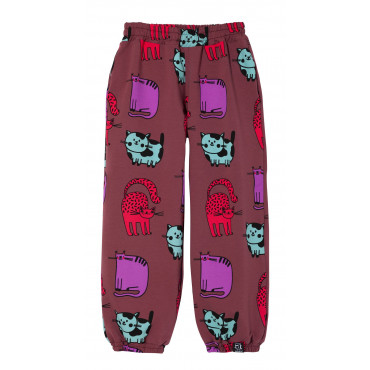 Burgundy Cats Loose Pocket Pants