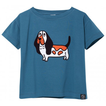 T-shirt Blue Single Basset