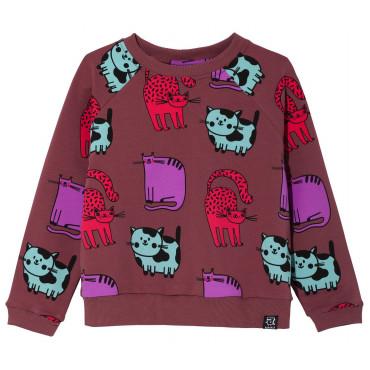 Burgundy Cats Sweatshirt