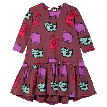 Burgundy Cats Dancing Dress