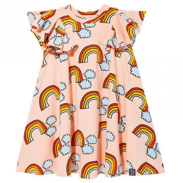 Pale Pink Rainbow Pom Pom Dress