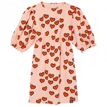 Pale Pink Hearts Puffed Sleeves Dress