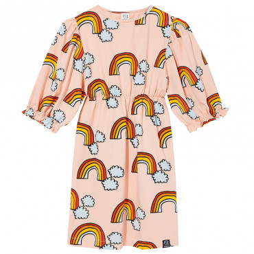 Pale Pink Rainbow Puffed Sleeves Dress