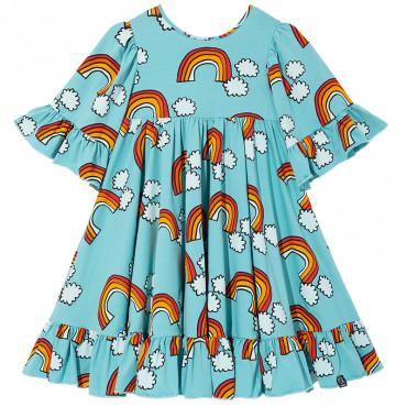 Blue Rainbow Boho Dress