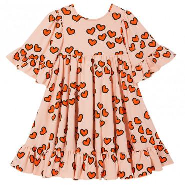 Pale Pink Hearts Boho Dress
