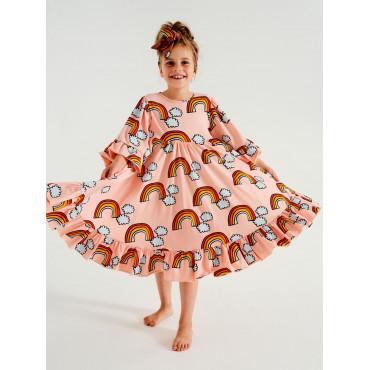 Pale Pink Rainbow Boho Dress