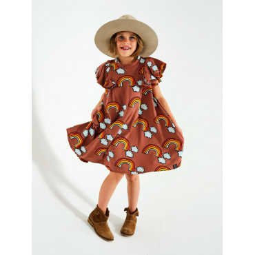 Brown Rainbow Pom Pom Dress