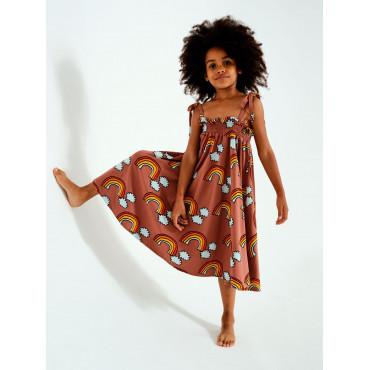 Brown Rainbow Shoulder Strap Dress