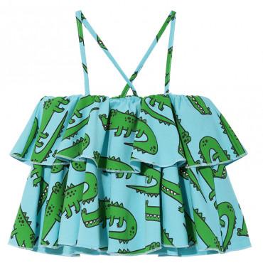 Blue Crocodiles Frill Tank-Top